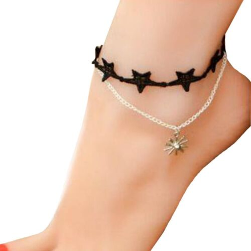 Jewelry Beach Summer Handmade Crystal Fashion Accessories Anklet Lace Gothic