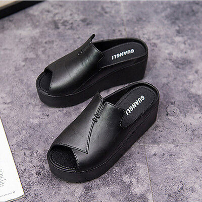 Casual Thick slippersThick Platform Shoes Peep Toe Shallow Sandals Flip-Flops
