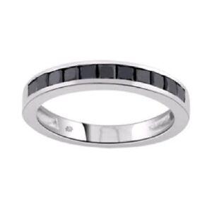 0-60ct-Black-Princess-Diamond-Half-Eternity-Ring-9k-White-Gold