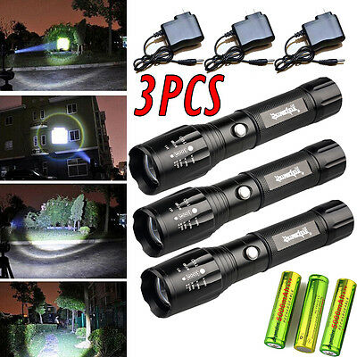 3Sets Tactical Police 10000LM CREE XML LED Flashlight Torch +Battery +Charger US