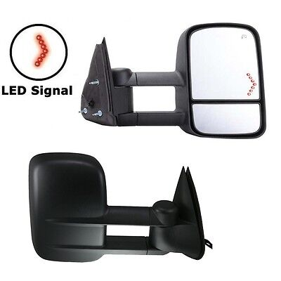 For 03-06 Chevy Silverado Sierra Tahoe Power+Heated+LED Arrow Signal Tow Mirrors