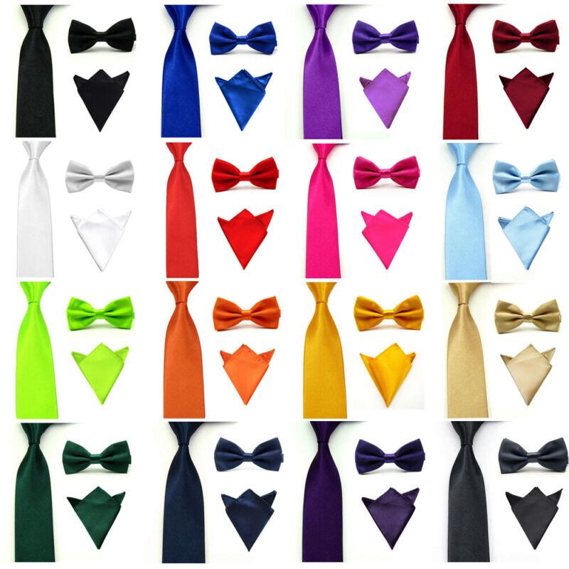 Mens Satin Solid Color Bowtie Bow Tie Necktie Handkerchief Pocket Square Set New