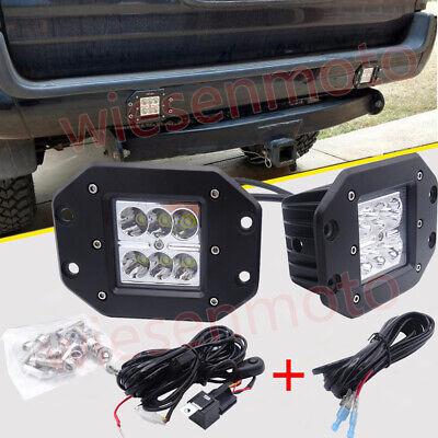 Fit Toyota 4Runner/Tacoma Rear Bumper Flush Mount 24W LED Light Pod Wiring Kits