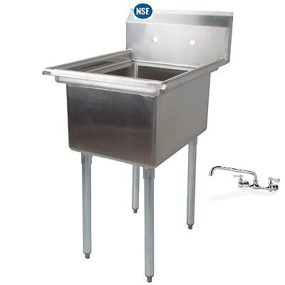 Stainless Steel One Compartment Prep Mop Sink 21 X 21 With Faucet