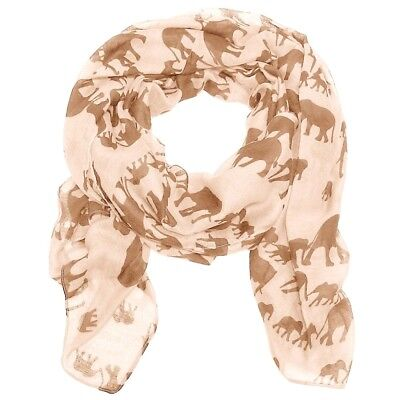 Light Gold Elephant Print Ladies Fashion Maxi Scarf Wrap Sarong Soft Warm