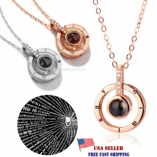 Jewellery - 100 Languages Light Projection I Love You Pendant Necklace Lover Jewelry Gifts