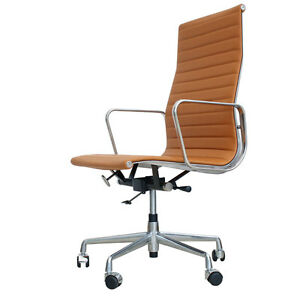 eames inspired high back office chair ea119 tan leather ebay