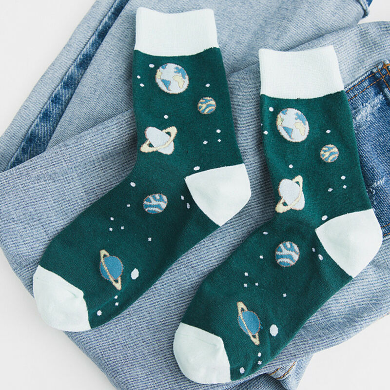 Cartoon Casual Planet Pattern Women Girls Cotton Socks Autumn Winter Socks Warm