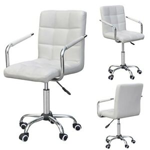 Modern Office Executive Home Dining Swivel Armrest Chair Computer Desk White