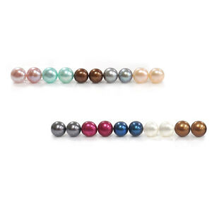 925 Silver 5 5mm Multi Color Freshwater Pearl Stud Earrings Set Of 10