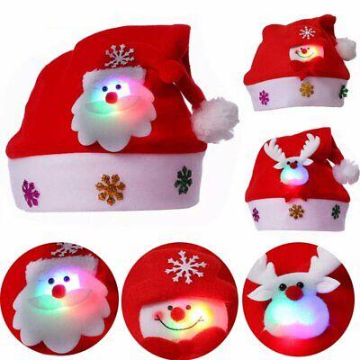 Pop Christmas LED Light Hat Santa Claus Snowman Elk Xmas Cap Adult Kids Gifts US Moose Christmas Lights