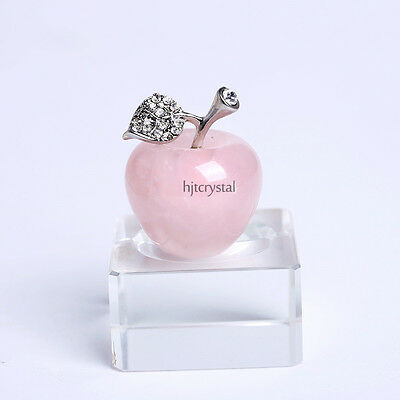 30Mm Natural Crystal Paperweight Pink Apple Figurine Decoration Christmas Gifts
