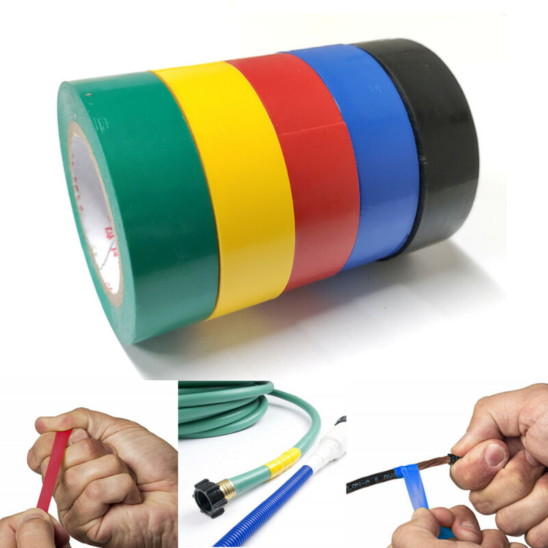 """5 Rolls PVC Electrical Tape Wire Insulating 5 Color 32ft Length 0.7"""" Wide Set"""