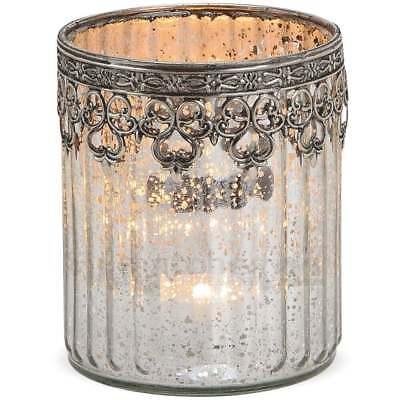 Marokkanische Schlafzimmer Dekor (Teelichtglas Windlicht Orientalisch Marokko & Metalldekor silber antik 12 cm)