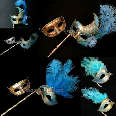 Teal Turquoise Masquerade Stick mask Sweet 16 Birthday Quinceaner Prom Party