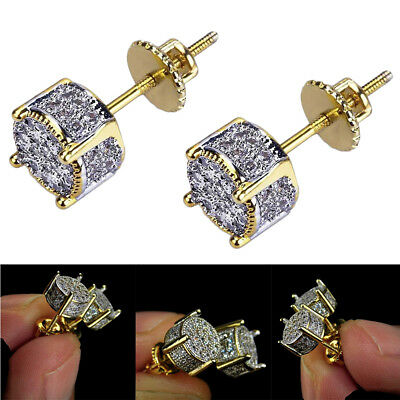 2x Gold Plated Two Tone Cz Micropave Earring Stud Round Hip Hop Screw Backings Gold Plated Round Stud