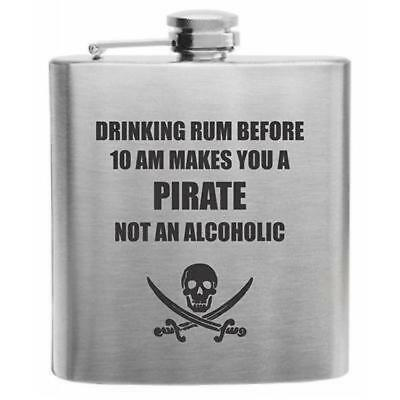 Pirate...Not Alcoholic Stainless Steel Hip Flask - Pirate Flask
