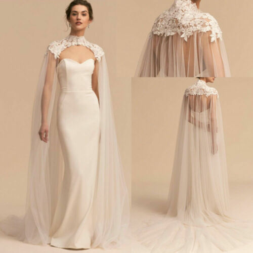 Appliques Tulle Wedding Bridal Cape High Neck Long Cloak Cathedral Wedding Cape