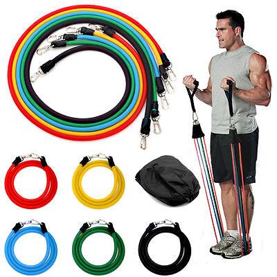 11pcs Exercise Resistance Band Set Yoga Fitness Pilates Workout Crossfit Bands