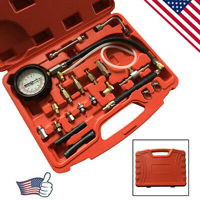 0-140PSI/10 Bar Fuel Injection Pump Pressure Tester Gauge Kits For Cars Trucks