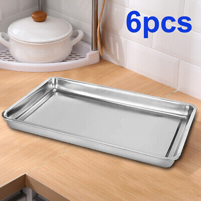 6pc Full Size 2 Deep Stainless Steel Steam Prep Table Hotel Buffet Food Pan Hot