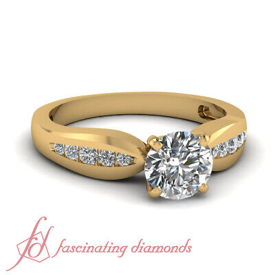 3/4 Carat Round Cut Diamond Tapered Channel Set Ring For Women Yellow Gold GIA