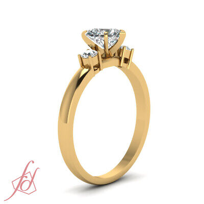 3/4 Carat Three Stone Engagement Ring With Heart Shaped And Round Diamond GIA 2