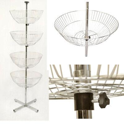 63 Inch High 4 Basket Display Wire Floor Tier Spinner Rack Dump Bin Retail Store