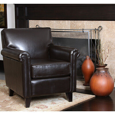 Elegant Design Brown Leather Club Chair w/ Rolled Arms