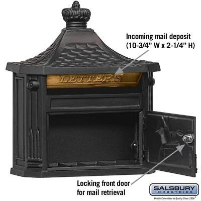 Black Victorian Mailbox Mail box Wall Mount Locking Lock Aluminum Salsbury