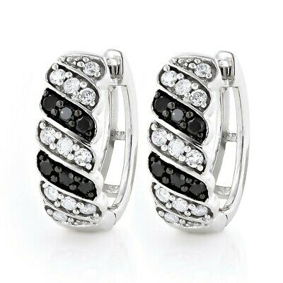2Ct Round Cut Black White Diamond Stylish Huggies Earrings 14K White Gold Finish ()