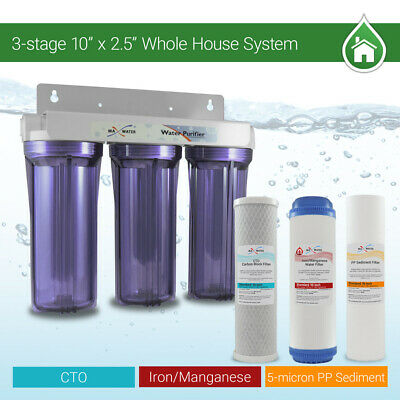 """Max  Water 3 Stages 10""""x 2.5"""" 3/4"""" Port Whole House Iron Manganese Water Filter"""