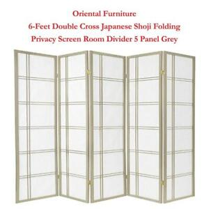 NEW Oriental Furniture 6-Feet Double Cross Japanese Shoji Folding Privacy Screen Room Divider, 5 Panel Grey Condtion:...