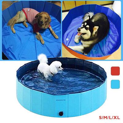 Foldable Dog Paddling Pool Pet Supply Puppy Swimming Bathing Washer Tub PVC Home