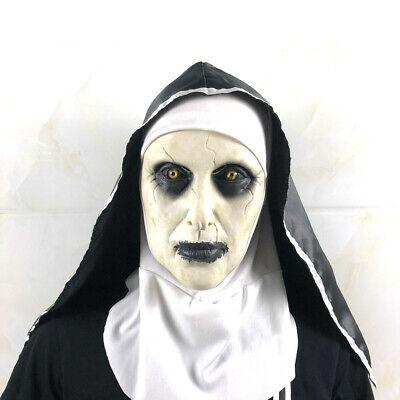 Halloween Horror Masks Scary (The Scary Nun Horror Latex Mask w/Headscarf Valak for Halloween Cosplay)