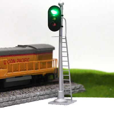 2pcs  Model Railroad Train Signals 3-Lights Block Signal  O Scale 12V JTD433GYR