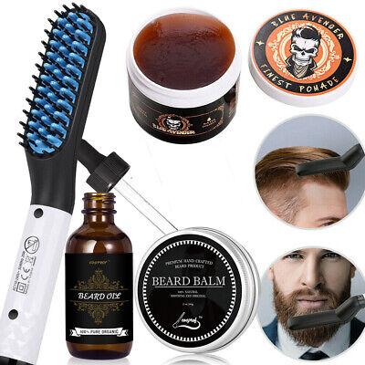 Men's Best Beard Care Gift-Beard Hair Straightener+Beard Oil+Balm+Hair (Best Hair Straightener For Men)