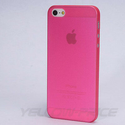 Best Ultra Thin Pink Translucent Crystal Hard Case Cover for iPhone 5 5S