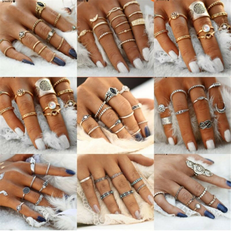 Jewellery - 12pcs Silver/Gold Boho Stack Plain Above Knuckle Ring Midi Finger Rings Set Gift
