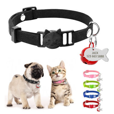 Soft Suede Breakaway Personalized Cat Collars with ID Tag&Bell Safety for Kitten ()
