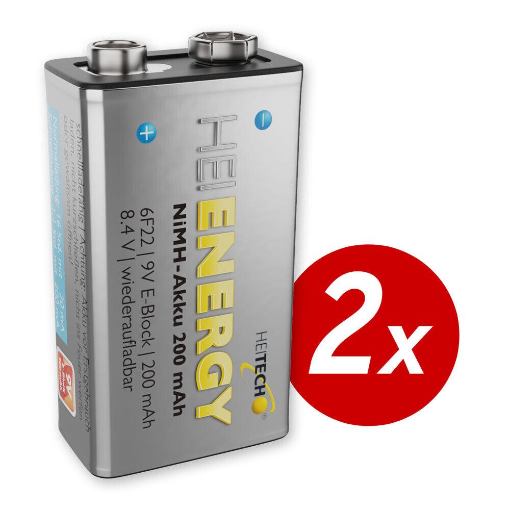 HEITECH 2x 9V Akku 200 mAh NiMH TÜV geprüft Wiederaufladbare Batterie Akkus