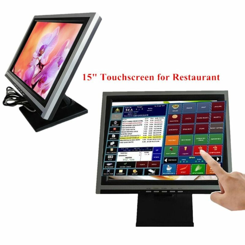 """15"""" Touch Screen LcD Display Monitor, Touch Screen Cash Register w/ POS Stand"""