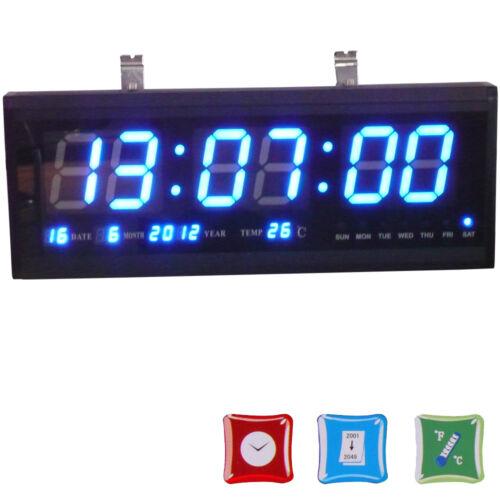 3-color digital large big digits led wall desk clock with calendar temperature