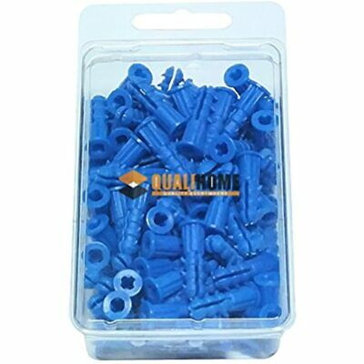 """Premium Quality Blue Ribbed Plastic Anchors, 100 Pack (10-12 X 1"""") Home"""