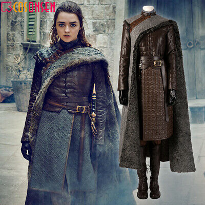 Cosonsen 2019 Game of Thrones 8 Costume Arya Stark Halloween Outfits Lot](Arya Game Of Thrones Costume)