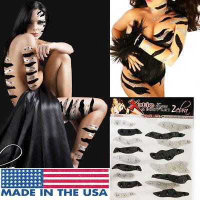 Zebra Stripes Easy Body Sticker Rhinestone Glitter Makeup Quick Animal Costume](Quick Animal Costumes)