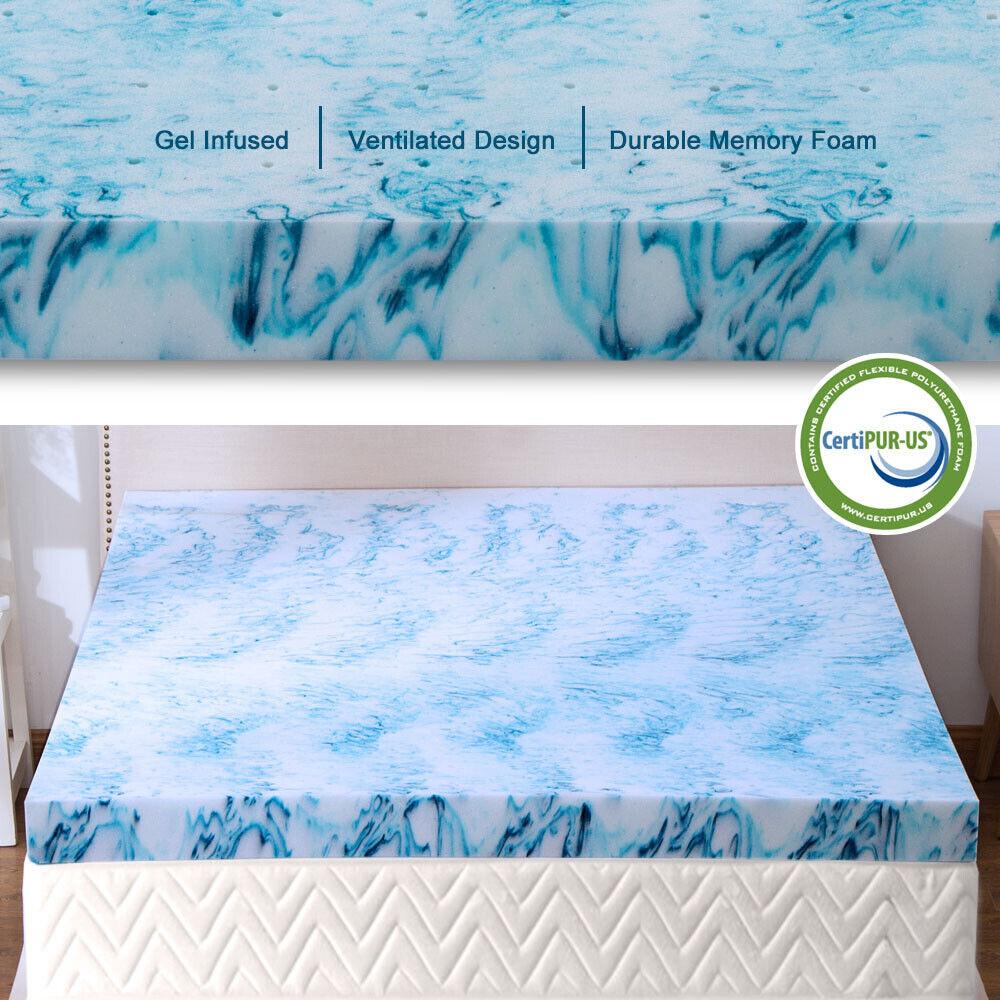 2.5,3,4 Inch Gel Memory Foam Mattress Topper Lavender Blue S