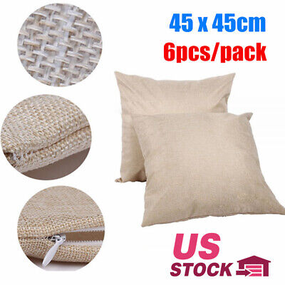 18x18in Linen Sublimation Blank Pillow Case Cushion Cover For Printing 6pcslot