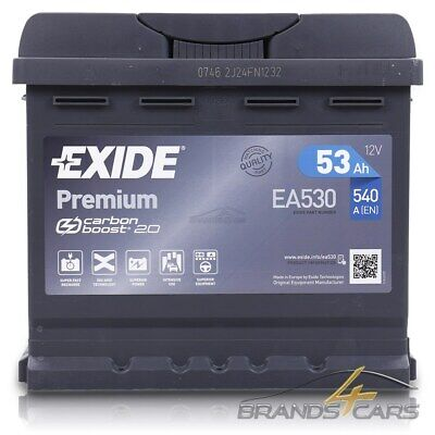 EXIDE AUTOBATTERIE 12V 53Ah STARTERBATTERIE 540A EA530 PREMIUM CARBON BOOST