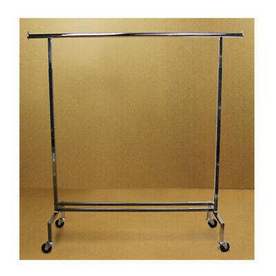 Single Bar Adjustable Clothes Rack Garment Retail Display Hanger Wheels 81 H